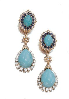 Gold, Turquoise, Sapphire and Diamond Pendant-Earclips, David Webb