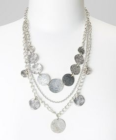Loving this Silver Scratch Circle Bib Necklace on #zulily! #zulilyfinds
