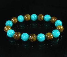 Bicolor BRWON GREEN Chinese Jade Gem Buddhist Prayer Mala Beads Bracelet WZ84