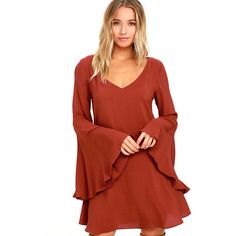 Something Magical Rust Red Long Sleeve Shift Dress ($54) ❤ liked on Polyvore featuring dresses, long sleeve dress, long-sleeve shift dresses, v neck dress, red shift dress and long-sleeve maxi dresses