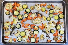 Roasted Carrots, Zucchini, and Cauliflower. This is a nice basic approach to roasted vegetables in general. Make a large batch and use throughout the week in different ways. Roast Zucchini And Carrots, Roasted Carrots, Roasted Cauliflower, Cauliflower Recipes, Paleo Vegetables, Roasted Vegetables, Veggies, Paleo Side Dishes, Vegetable Side Dishes