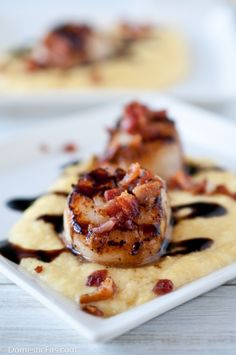Scallops On Smoked Sweet Corn Puree With Stout Balsamic Glaze