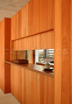 Close up of Cedar wood panelled wall between Wood Panel Walls, Wood Paneling, Serving Hatch Ideas, Home Decor Kitchen, Kitchen Dining, Living Room Bedroom, Living Rooms, Interior Photography, Modern House Design