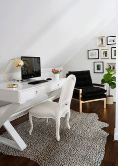 Office chic: designed with clean lines, nickel plated pulls and a functional angled shelf, our Jett Desk will update any home office. Isn't it about time to make working from home more stylish? Shop our Jett Desk and see how our customers incorporated this perfect piece into their home offices. Header photo via Glitter Guide Via Honey We're Home Via WhoWhatWear
