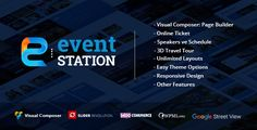 Buy Event Station - Event & Conference WordPress Theme by GloriaThemes on ThemeForest. Event Station WordPress Theme – Overview Page Builder: Visual Composer – Visual Composer is an easy to use drag and . Wordpress Template, Wordpress Plugins, Online Ticket Sales, Mobile Logo, Wordpress Theme Design, Travel Tours, Blogger Templates, Event Management, Website Template