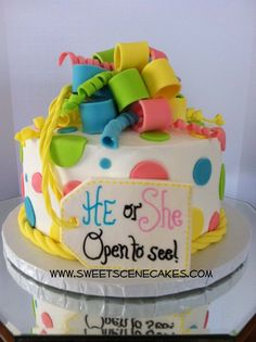 Great gender reveal cake @Megan Gaspar.....thought this was cute. :)