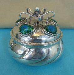 Rare Art Nouveau Sterling Silver Enamel Tea Caddy Omar Ramsden & Alwyn Carr 1907