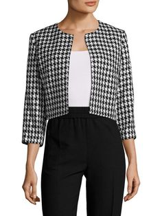 """Houndstooth Printed Jacket by Karl Lagerfeld at Gilt, 22 Nov 17. $64, MSRP $128. Returnable. Customers say this brand tends to run true to size. Color: black/white. Description: Woven jacket     Graphic print throughout     Open front     Three-quarter sleeve     Tonal topstitching and panel seaming. 36"""" in circumference at bust; 19"""" from shoulder to hem. Shell: 100% acrylic; Lining: 100% polyester. Dry clean."""