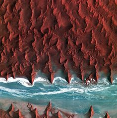 "wigmund: "" From National Geographic Space Pictures This Week; May Sea of Sand ESA A dry riverbed (seen in light blue) cuts across the Namib desert (map) in Namibia, in a picture released by. Earth And Space, Satellite Photos Of Earth, Earth Photos, Satellite Picture, Nature Photos, Beautiful World, Beautiful Places, Stunningly Beautiful, Namib Desert"