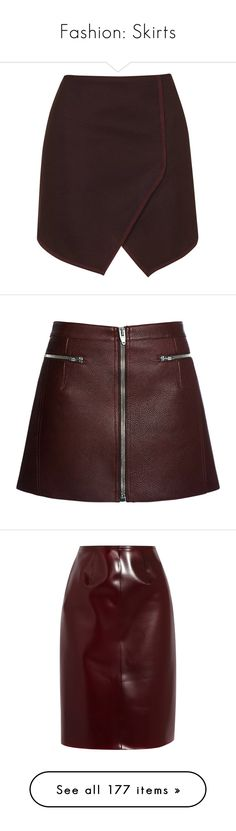 """""""Fashion: Skirts"""" by katiasitems on Polyvore featuring skirts, mini skirts, bottoms, topshop, saias, burgundy, wrap mini skirt, topshop skirts, burgundy mini skirt and high waisted skirts"""