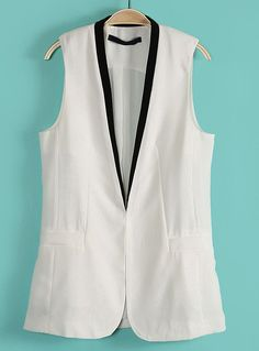 White Contrast Collar Sleeveless Pockets Blazer. I'd rock the crap outta this.