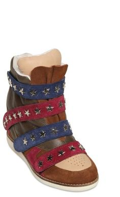 Jeffrey Campbell 90mm Suede Stars Sneakers #faux #isabelmarant #jeffreycampbell #sneakers #ss12 #fw12 #starsandstripes #wedges #stars #stripes #shoes #suede #velcro #red #blue #brown $319