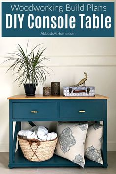 Easy to follow tutorial for a beautiful DIY Console Table Plan with Drawers for extra storage in an Entry, Dining Room, or Living Room! Step by Step Kreg Jig Pocket Hole build with printable plans available. Easy enough for beginner woodworkers. Table Plans, Woodworking Plan, Woodworking Plans Diy, Diy Table, Woodworking Ideas Table, Furniture Hacks, Diy Console, Diy Furniture, Diy Console Table