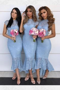 lace bridesmaids Sexy Mermaid Cap Sleeves Lace Bridesmaid Dresses, Tight Lace Formal Dresses This dress could be custom made, there are no extra cost to do custom size and c High Low Bridesmaid Dresses, Mermaid Bridesmaid Dresses, Lace Bridesmaids, Mermaid Dresses, Lace Mermaid, Blue Party Dress, Lace Party Dresses, Cheap Prom Dresses, Lace Dress