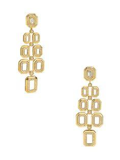 Octagonal Diamond & Rock Crystal Chandelier Earrings by Ivanka Trump at Gilt