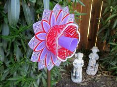 Your place to buy and sell all things handmade Glass Garden Flowers, Glass Plate Flowers, Flower Plates, Crystal Garden, Garden Gifts, Yard Art, Glass Ornaments, Beautiful Flowers