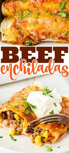 Beef enchiladas with savory enchilada sauce, beans, cheese, and veggies are an easy family favorite!