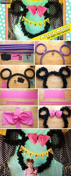 This Minnie Mouse wreath is made with pool noodles and napkins as well as other items and is such cute DIY party decor! DIY wreath for Minnie Mouse birthday parties! Minnie Mouse Birthday Decorations, Minnie Mouse Theme Party, Minnie Mouse First Birthday, Mickey Mouse Clubhouse Birthday Party, Minnie Mouse Baby Shower, Girl Birthday, Minnie Mouse Pinata, Birthday Diy, Mickey Mouse Birthday Party Ideas