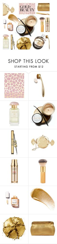 """Gold Beauty"" by alongcametwiggy ❤ liked on Polyvore featuring beauty, AERIN, Estée Lauder, Judith Leiber, Hermès, tarte, BBrowBar, Pat McGrath, Lipault and GoldBeauty"