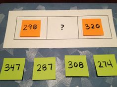 Math Coach's Corner: What Comes Between? The task is to decide which number can go in place of the ?, and the strategy is to put the numbers in order, creating a number line. You can easily adapt this activity for smaller or larger numbers. Math Stations, Math Centers, Math Resources, Math Activities, Math Games, Educational Activities, Math Place Value, Place Values, Math Coach