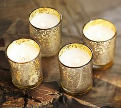 Mercury Glass Votive Candle, Set of 6 - Diy Deko İdeen Mercury Glass Candle Holders, Silver Candle Holders, Diy Candle Holders, Votive Candles, Candle Set, Glass Holders, Gold Diy, Pottery Barn, Making Ideas