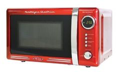 Countertop Microwave Oven Digital Clock Kitchen Reheat Defrost Cooking Retro Red