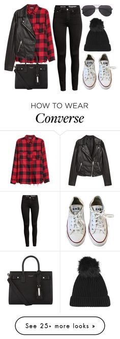 """Sin título #14436"" by vany-alvarado on Polyvore featuring Converse, H&M, Yves Saint Laurent and Topshop"