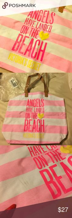 Brand New VS Beach Bag Gorgeous canvas beach bag! Never used, has a few scratches that it came with as seen in pics. Victoria's Secret Bags