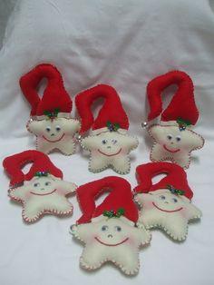 Estrelas de Natal em vermelho e branco em feltro - handmade