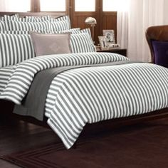 Ralph Lauren Home Club Stripe Charcoal Duvet Cover - Double | More here: http://mylusciouslife.com/luscious-bedrooms/