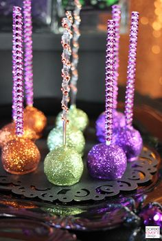 glitter cake pops as seen in the Monster High Casta Fierce party on Soiree-EventDesign.com/blog