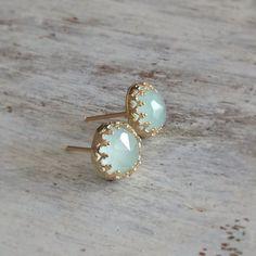 Gold earrings jade stud earrings stud earrings classic by Avnis