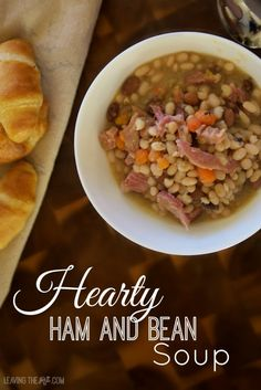 Hearty Ham and Bean Soup. Filling soup thta is perfect for those cold winter days. www.leavingtherut.com