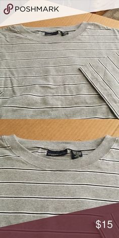 Men's shirt sleeve striped crewneck t-shirt Short sleeve striped crewneck t-shirt, gray with navy blue and white stripes, 100% cotton, new with no tags, never worn from a smoke free home weatherwear clothing co Shirts Tees - Short Sleeve