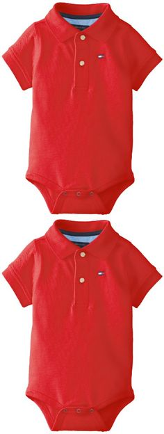 Tommy Hilfiger Baby Boys' Short Sleeve Ivy Bodysuit, Regal Red, 9 Months