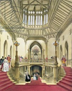 Painting of the staircase at Windsor castle before it was changed.