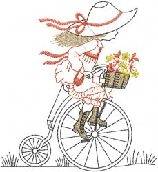 Outlines Embroidery Design: Girl Antique Bicycle from AnnTheGran