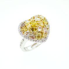 Gorgeous Natural Coloured Diamond Heart Ring & Pendant.
