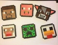 Minecraft bead art Magnets/keychains by Bernybro on Etsy, $3.50 Minecraft Perler, Hama Beads Minecraft, Perler Beads, Minecraft Birthday Party, Fuse Beads, Bead Art, Beading Patterns, Pixel Art, Cross Stitch Patterns
