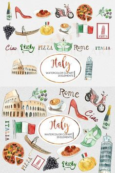 "This is a high quality set of the ""Italy"" watercolor clipart for print and digital use. You may use this set for scrapbooks, planners, stickers, cards, website Italian Party Decorations, Italy Illustration, Travel Clipart, Notebook Drawing, All About Italy, Italy Logo, Geography For Kids, Bullet Journal Art, Thinking Day"