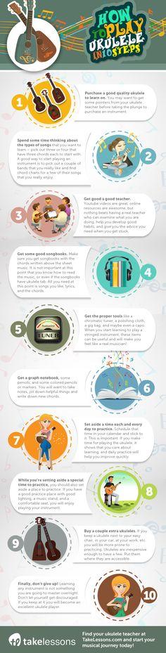 Infographic: How to Play Ukulele in 10 Steps http://takelessons.com/blog/how-to-play-ukulele-infographic-z10?utm_source=social&utm_medium=blog&utm_campaign=pinterest