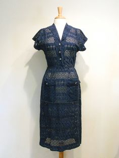 Vintage Navy Eyelet Shirtwaist Dress by tobedetermined on Etsy