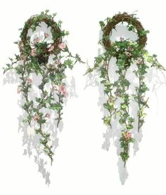 2 x Potted Miniature Ivies w/Wreath, Artificial Hanging Plants * You can find out more details at the link of the image.