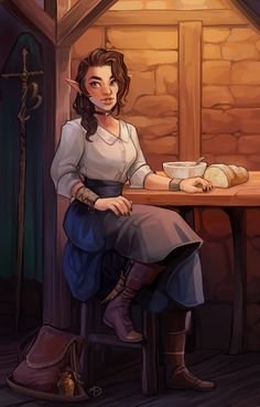 [OC][Art] Half-elf sorcerer relaxing at her parent's inn : DnD Elf Characters, Dungeons And Dragons Characters, Fantasy Characters, Fantasy Character Design, Character Inspiration, Character Art, Character Ideas, Character Sketches, Fantasy Inspiration