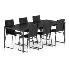 Black Table and Chairs Set by CGAxis model of black table and black chairs set.