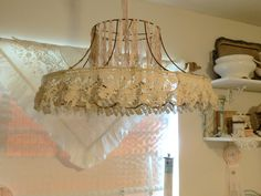 Image result for boho lampshade with beads creative decor crafts crocheted fabric and lace covering lampshade frame greentooth Choice Image
