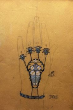 Lalique - Projet non daté pour un bijou Scarabées, à la fois bracelet et bague. Crayon, encre, lavis et gouache sur papier.