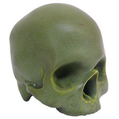 Life-Sized Green Ceramic Skull