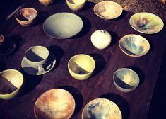 陶器が日向ぼっこしているみたい。