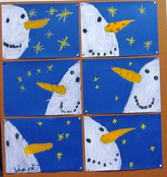 Snowmen at night Snowmen at night Winter Art Projects, Winter Project, Winter Crafts For Kids, Art For Kids, Snowmen At Night, Kindergarten Art Projects, Theme Noel, Preschool Art, Winter Activities